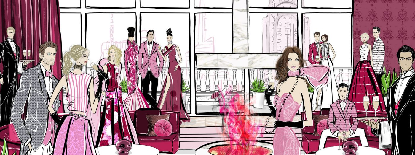 Champagne Lovers Fashion Illustration Scene