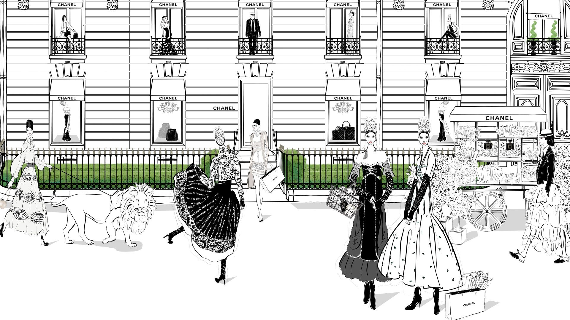 Chanel Paris Fashion Illustration Scene