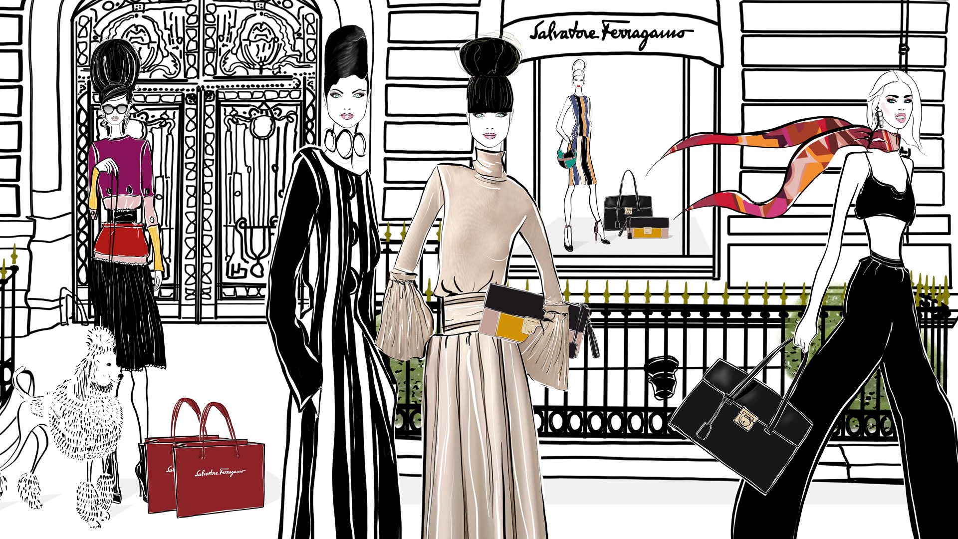 Ferragamo Paris Fashion Illustration