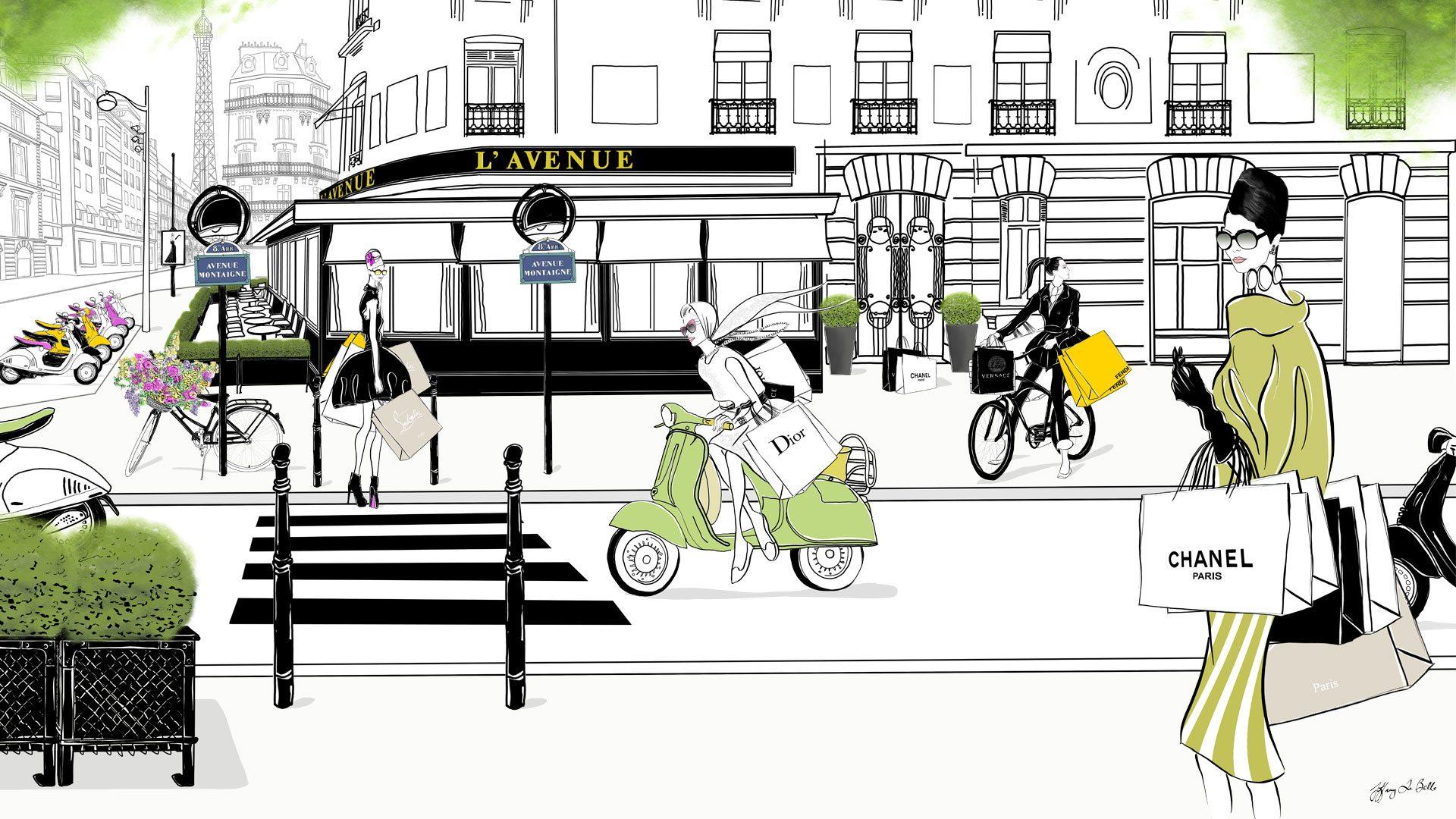 L Avenue Fashion Illustration Scene