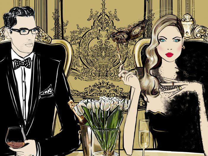Masquerade Gold Fashion Illustration Scene