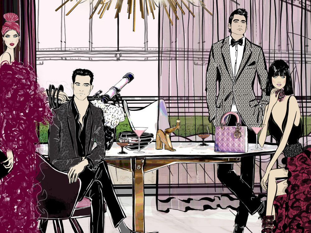 Sydney Soiree Fashion Illustration Scene