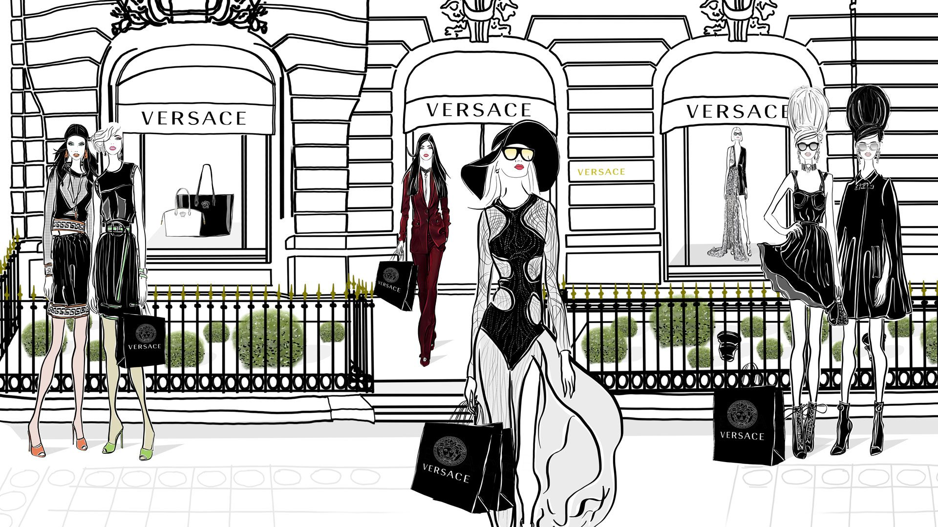 Versace Paris Fashion Illustration Scene