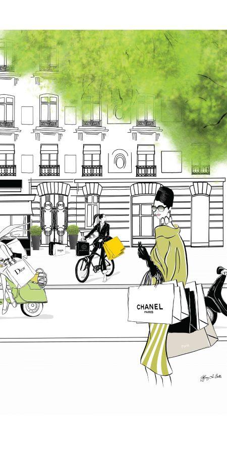 L Avenue Paris Fashion Illustration Scene
