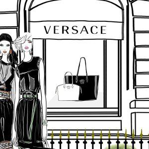 Versace Paris Fashion Illustration Scene
